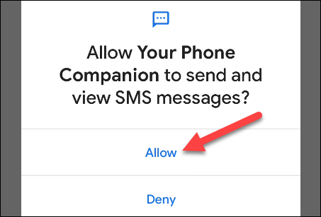 allow SMS permissions