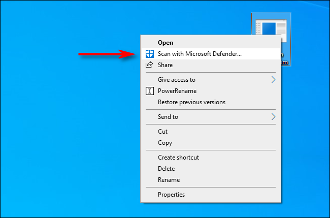 Select Scan with Microsoft Defender in the Right-Click menu on Windows 10