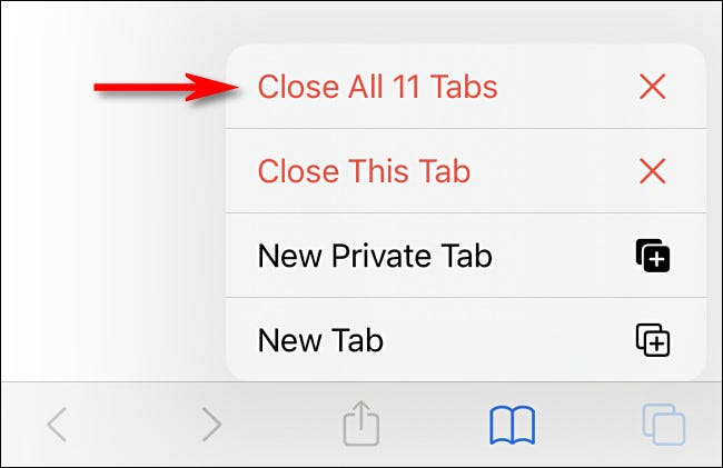 In the menu that pops up, select Close All Tabs.