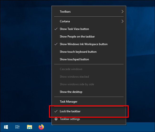 Select Lock the Taskbar in Windows 10