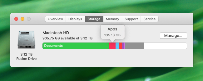Hover your mouse over the disk storage graph to see space by file type in macOS Catalina