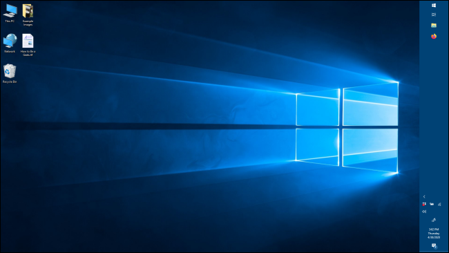 The Taskbar in a vertical orientation in Windows 10