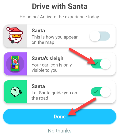 enable drive with santa features