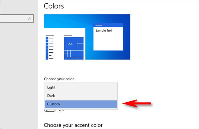 In Windows Settings, under Choose your color, select Custom.