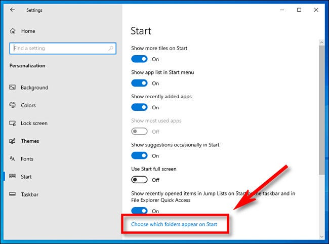 In Windows Settings, click Choose which folders appear on Start.