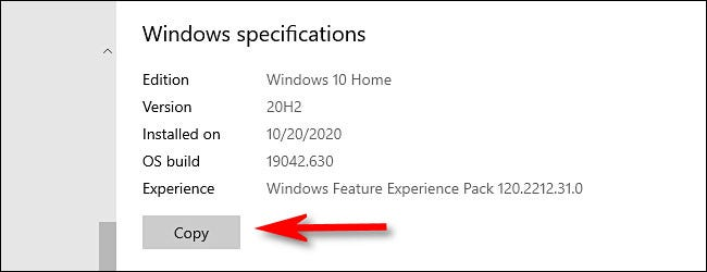 In Windows Settings, click the Copy button to copy your Windows specifications to the clipboard.