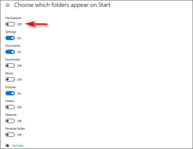 In the Choose which folders appear on Start menu, click the switches beside folders to activate them