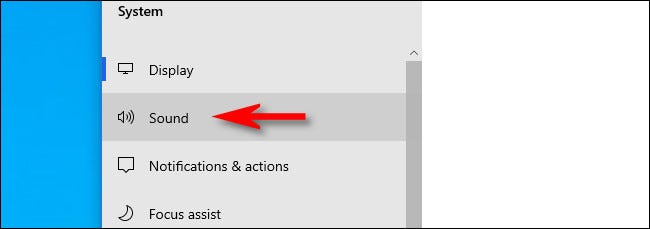 In Settings on Windows 10, click Sound.