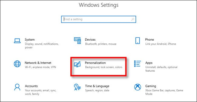 In Windows 10 Settings, click Personalization.
