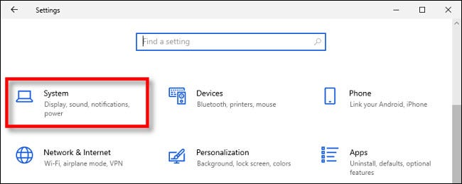 In Windows 10 Settings, click System.