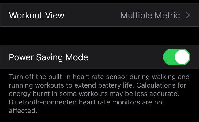 Apple Watch Power Saving Mode for Workouts