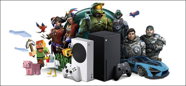 The Xbox Series X and S consoles surrounded by characters from Microsoft games.