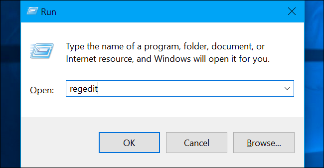 Press Windows+R to open Run and type regedit in and hit the Enter key.